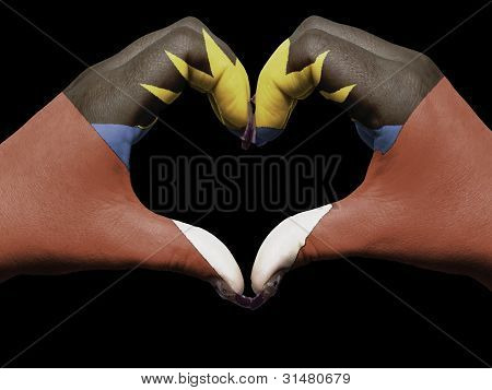 Heart And Love Gesture By Hands Colored In Antigua Barbuda Flag  For Tourism