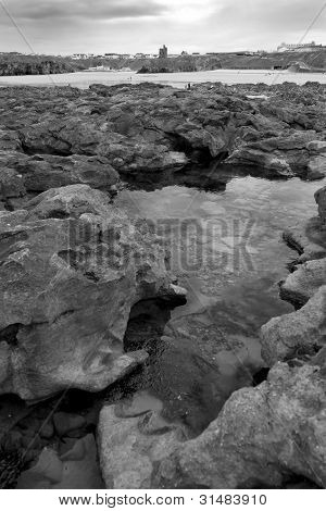 Rock Formations With Castle In Black And White