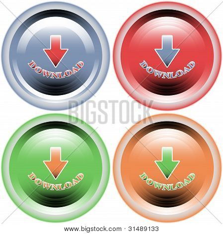 Four multi-colored buttons download