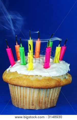 Cupcake With Candles Smoking