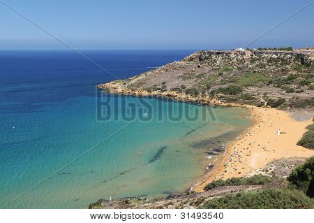 Golden Bay at the west coast of Malta