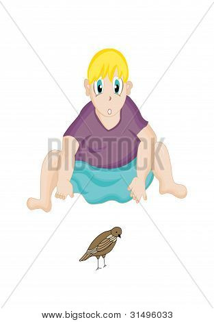 Illustration of a boy looking at a small bird