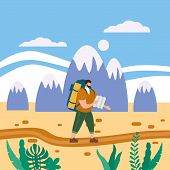 Tourist Man With Map And Backpack Performing Outdoor Touristic Activity. Mountain Landscape. Adventu poster