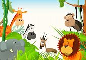 stock photo of jungle  - Illustration of cute various cartoon wild animals from african savannah including lion elephantgiraffe gazelle monkey and zebra with jungle background - JPG