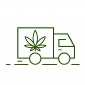 Delivery Marijuana. Illustration Of A Delivery Truck Icon With A Marijuana Leaf. Drug Consumption, M poster