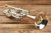 Rusty Trumpet On Old Wooden Surface. Antique Trumpet On Rustic Boards. Classical Jazzy Instrument. poster