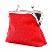 red cash wallet isolated on white background. Charge purse. Open empty coin wallet. poster