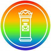 British postbox circular icon with rainbow gradient finish poster