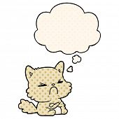 cartoon angry cat with thought bubble in comic book style poster