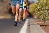Marathon Running Race, People Feet On City Road poster
