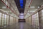 pic of cell block  - Photograph of the inside of an Alcatraz cell block at night - JPG
