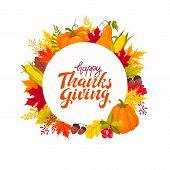 Happy Thanksgiving Banner With Bright Colorful Pumkin, Apples And Leaves. Autumn Foliage Vector Illu poster