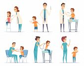 Kids Vaccinating. Doctor Gives Injection To Childrens Medical Healthcare Vector Concept Cartoon Illu poster