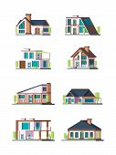 Modern Cottages. Villa New Living Home Residence Townhouse Vector Flat Collection. Illustraion Of Fa poster