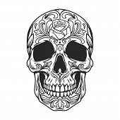 Vintage Monochrome Sugar Skull With Rose Flower And Floral Pattern Isolated Vector Illustration poster