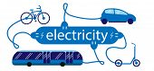 Electric Transport Car, Bus, Bike And Scooter And The Symbol Of The Electric Charging Station. Vehic poster