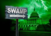 Drain The Swamp Politics And United States Deep State Government Corruption As A Us Political Concep poster