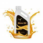 Engine Oil Bottle. Vector Gold Oil Splashes Isolated On White Background. Illustration Of Oil Bottle poster