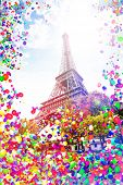 Eifel Tower In Paris France With Air Balloons Fly poster