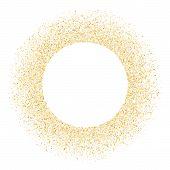 Gold Sparkles Glitter Dust Metallic Confetti Vector Background. Vip Golden Sparkling Background. Gol poster