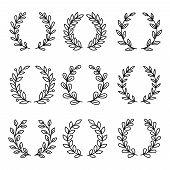 Laurel Wreath Award Icons. Simple Linear Royal Wreaths Signs, Vector Laurels Decoration Awards, Vint poster