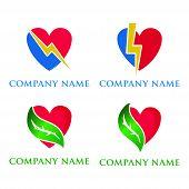 Set Of Heart Logo. Heart Logo Concept, Heart  Logo Concept With Leaf Icon, Heart  Logo Concept Light poster