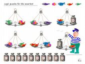Mathematical Logic Puzzle Game. Help The Fisherman To Calculate The Weight Of Fish. What Weight Must poster