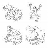 Bitmap Illustration Of Amphibian And Animal Logo. Set Of Amphibian And Nature Bitmap Icon For Stock. poster