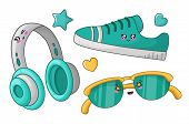 Cute Cartoon Set With Kawaii Fashion Girls Accessories - Turquoise Headphones, Sneakers And Sunglass poster
