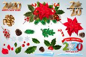 Christmas Decorations. Holly, Spruce, Red Berries, Christmas Bauble, Conifer Cone. Set Realistic Chr poster