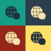 Color World Map Made From Speech Bubble Icon Isolated On Color Background. Global Communication Sche poster