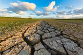 Arid And Dry Cracked Land Due To Climate Change And Global Warming - An Ecological Disaster poster