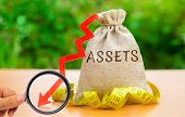 Money Bag With Tape Measure And The Word Assets With Down Arrow. Falling Asset, Liquidity And Value. poster
