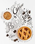 Hand Drawn Breakfast Lettering Typography with classic Phrases in a vintage composition with real ca poster