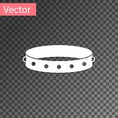 White Leather Fetish Collar With Metal Spikes On Surface Icon Isolated On Transparent Background. Fe poster