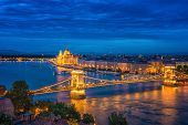 Panorama Of Budapest At Night. Hungarian Landmarks: Chain Bridge, Parliament And Danube River In Bud poster
