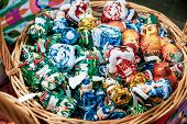 Christmas Tree Decorations In The Basket. Christmas Tree Decorations And Decorations In The Design. poster