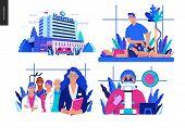 Set Of Medical Insurance Illustrations - Hospital, Orthopedic Traumathology, Hospital Administrator, poster