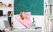 School Pedagogue Occupation. Stretching After Hard Working Day. Just Relax. Find Way To Relax At Wor poster