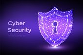 Security Shield. Cyber Security. Shield With Keyhole Icon. Protect And Security Of Safe Concept. Ill poster