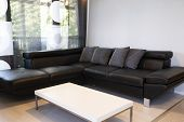 Modern Interior Of Living Room With Comfortable Black Leather Sofa poster