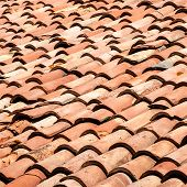 stock photo of red roof tile  - Tiles on old castle roof - JPG