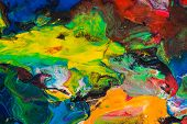 Photo Of Multicolor Plasticine Mixed Texture. Multicolored Abstract Piece Of Mix Plasticine. poster