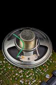 Old Speaker Removed From The Radio. Electronics From Old Electronic Devices. poster