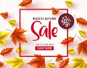 Autumn Sale Vector Banner. Biggest Autumn Sale Text With Maple Leaves And Red Frame In White Texture poster