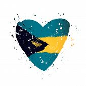 Bahamas Flag In The Form Of A Big Heart. Vector Illustration On A White Background. Brush Strokes Ar poster