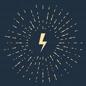 Beige Lightning Bolt Icon Isolated On Dark Blue Background. Flash Icon. Charge Flash Icon. Thunder B poster