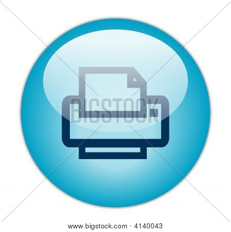 The Glassy Aqua Blue Printer Icon Button