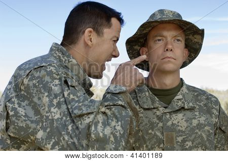 Solider shouting to teammate during a training session