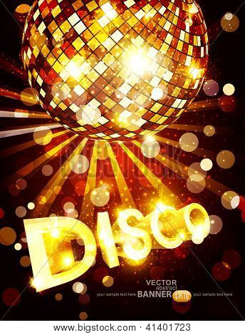 vertical vector disco background with golden disco ball and gold lettering
